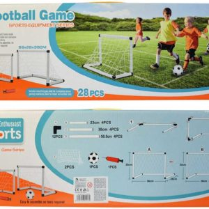 Branka fotbalová bílá 56x28x35cm set 2ks s míčem a pumpičkou v krabici plast