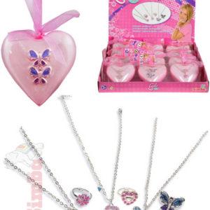 SIMBA Set prstýnek + náhrdelník dětská bižuterie v doze srdíčko plast různé druhy