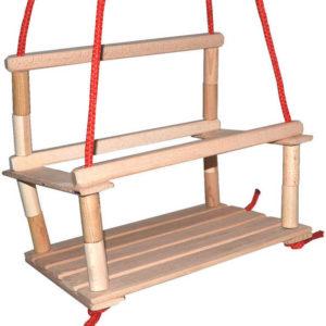 DŘEVO Houpačka dřevěná závěsná pro děti s ohrádkou