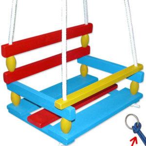 DŘEVO Houpačka dětská 39x30cm závěsná barevná se zábranou dřevěná