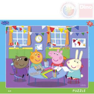 DINO Puzzle deskové Prasátko Peppa Pig ve školce 32x24cm skládačka 40 dílků