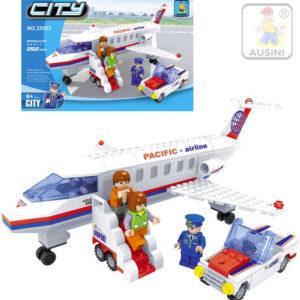 AUSINI Stavebnice MĚSTO Letadlo sada 252 dílků + 3 figurky s autem plast