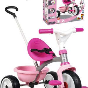 SMOBY Baby tříkolka šlapací Be Move 68x52x52cm růžová s vodící tyčí 2v1