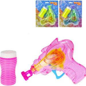 Bublifukovač set pistolka transparentní 15cm s náplní 60ml na baterie Světlo různé barvy