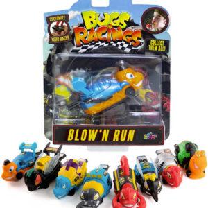 Bugs Racing foukni a jeď auto brouk 9cm se samolepkou a terčem různé druhy