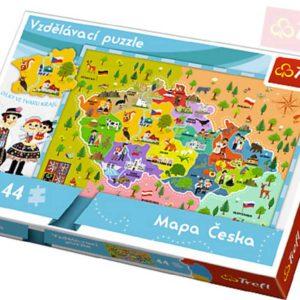 TREFL PUZZLE Vzdělávací mapa České republiky 44 dílků 60x40cm v krabici