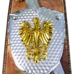 Souprava rytířská meč zdobený 58cm + štít na kartě plast