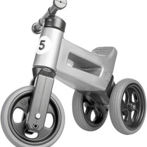 Odrážedlo Funny Wheels 2v1 odstrkovadlo tříkolka / 2 kola šedé gumové pneumatiky