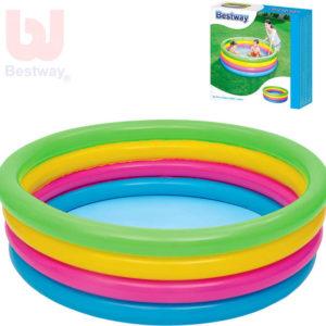 BESTWAY Bazén kruhový nafukovací 157x46cm 4 prstence barevný 51117