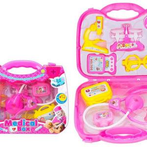Doktorka v růžovém kufříku set dětské lékařské potřeby plast