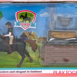 Jezdecký herní set koník 14cm plastový s žokejem a doplňky