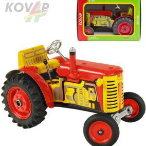 KOVAP Traktor Zetor červený 1:25 kovový na klíček 3 rychlosti s převodovkou