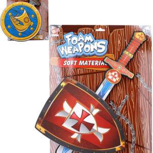 Soft meč pěnový rytířský set se štítem 2 druhy na kartě