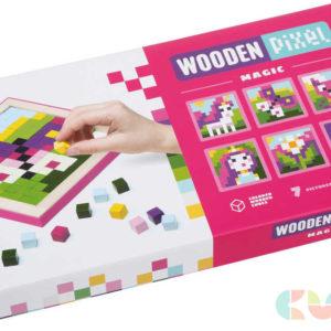 CUBIKA DŘEVO Bayb mozaika Wooden pixel Kouzla set 250 dílků + 7 předloh