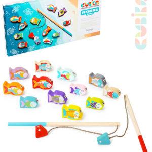 CUBIKA DŘEVO Baby hra dětský Rybolov 14 dílků set 2 pruty + 12 rybiček