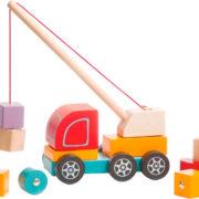 CUBIKA DŘEVO Baby Autojeřáb set s kostkami 10ks s magnetem pro miminko