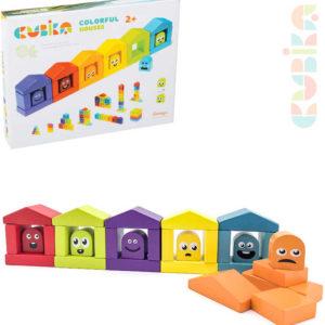 CUBIKA DŘEVO Baby stavebnice Domečky barevné set 30 dílků pro miminko