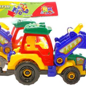 Traktor montážní 37cm šroubovací set s nástrojem a figurkou k sestavení plast