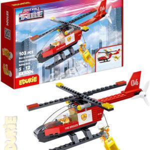 EDUKIE Hasičský vrtulník set 103 dílků + 2 figurky STAVEBNICE