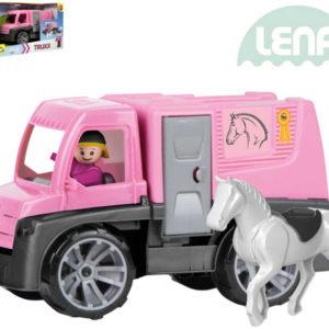 LENA Truxx Auto růžové přeprava koní set se 2 figurkami v krabici