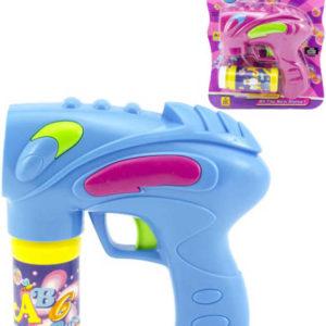 Bublifuk pistole 16cm na baterie set s náplní různé barvy
