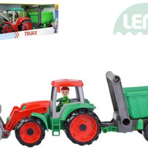 LENA Truxx Traktor nakladač set s přívěsem a panáčkem v krabici