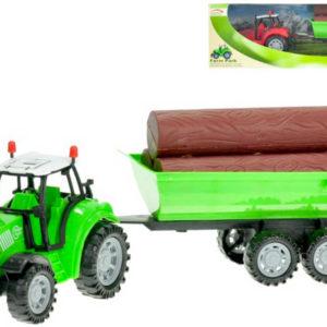 Traktor 34cm set s vlečkou a dřevem na setrvačník různé barvy plast