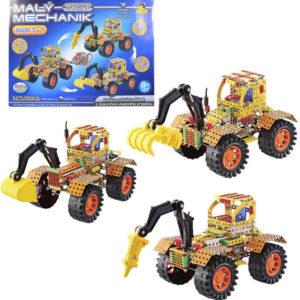 Malý mechanik Traktor s radlicí 3v1 Stavebnice typu Merkur kov plast v krabici