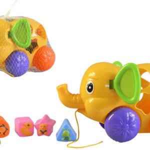 Baby slon na kolečkách vkládací set s kostkami 6ks tahadlo pro miminko