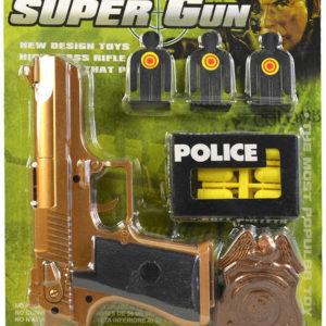 Pistole policejní se soft náboji set s odznakem a terči plast na kartě