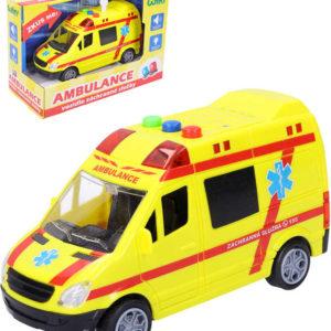 Auto sanitka 14,5cm žlutá ambulance na baterie Světlo Zvuk plast