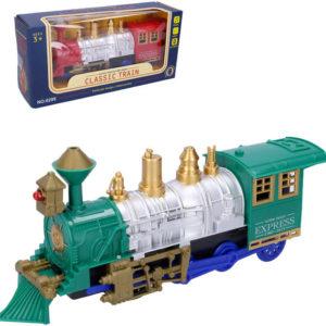 Mašinka narážecí 27cm retro parní expres vlak na baterie Světlo Zvuk různé barvy