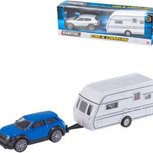 Teamsterz auto jeep set s karavanem různé barvy v krabičce plast
