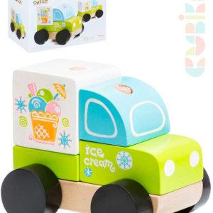 CUBIKA DŘEVO Baby autíčko Vůz zmrzlinový navlékací stavebnice set 5 dílků