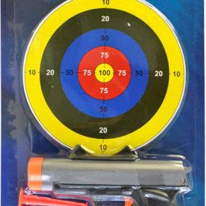 Pistole plastová 14cm set s terčem a 4 náboji na kartě