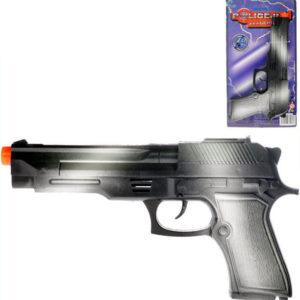 Pistole dětská 22cm na setrvačník jiskřící zbraň černá plast