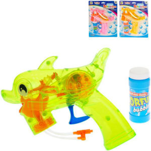Bublifuková pistolka ryba 18cm na setrvačník na baterie Světlo různé barvy