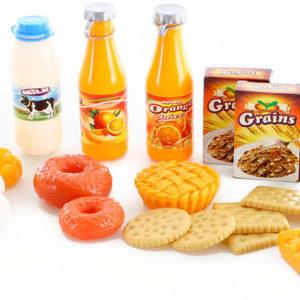 Jídlo snídaně dětské makety potravin plastový set 26ks v síťce