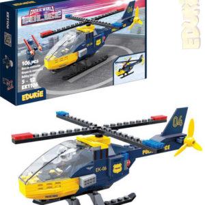EDUKIE Policejní vrtulník set 106 dílků + 2 figurky STAVEBNICE