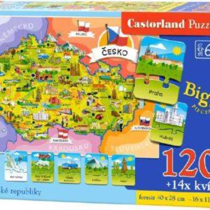 HRA Puzzle Mapa ČR naučný set 120 dílků + 14 kvízů v krabici 2v1