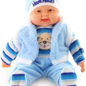 Panenka miminko velké kluk 55cm modrý obleček s pejskem měkké tělíčko