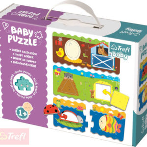 TREFL Baby puzzle Tvary půlené vkládací 3v1 set 12 dílků pro miminko