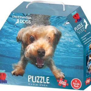 PUZZLE 3D Skládačka 3v1 Potápějící se psi 31x23cm set 226 dílků