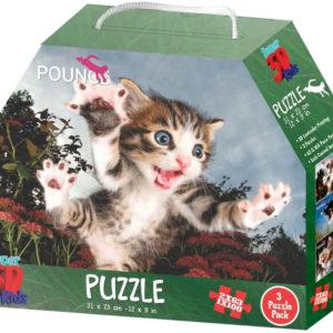 PUZZLE 3D Skládačka 3v1 Skákající koťata 31x23cm set 226 dílků