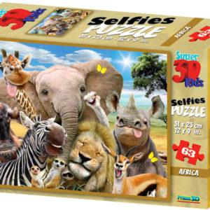 PUZZLE 3D Skládačka Afrika zvířátka selfie 31x23cm set 63 dílků