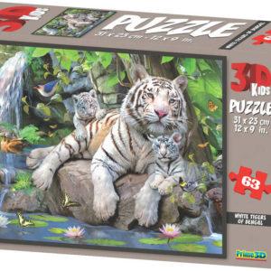 PUZZLE 3D Skládačka Bílí tygři 31x23cm set 63 dílků