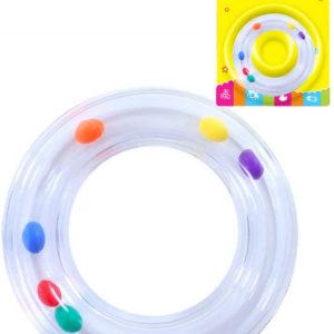 Baby chrastítko průhledný kruh s kuličkami pro miminko plast