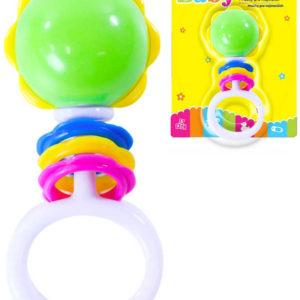 Baby retro chrastítko koule s tvary a úchytem pro miminko