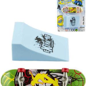 Skateboard prstový set s rampou různé druhy plast na kartě