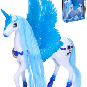 Jednorožec koník bílo-modrý s efekty 25cm na baterie Zvuk plast